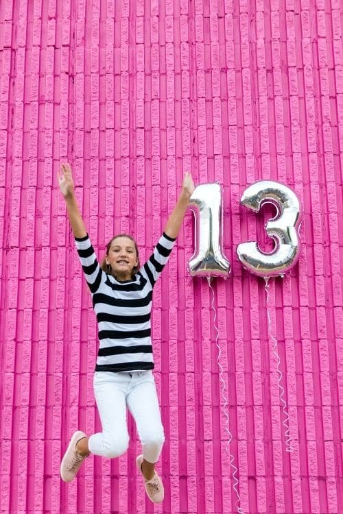 Take a picture of your daughter jumping in the air celebrating her 13 birthday it would be a fun teen birthday tradition she could post online.