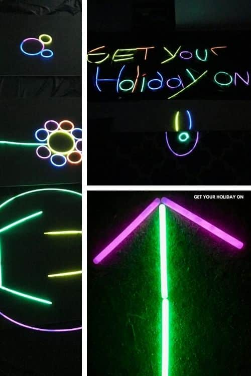 Diy Glow in the Dark Crafts with website name written in glow sticks get your holiday on.