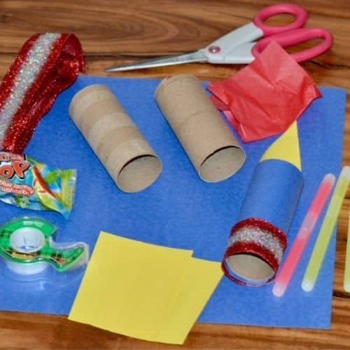 The materials needed for the firework craft.