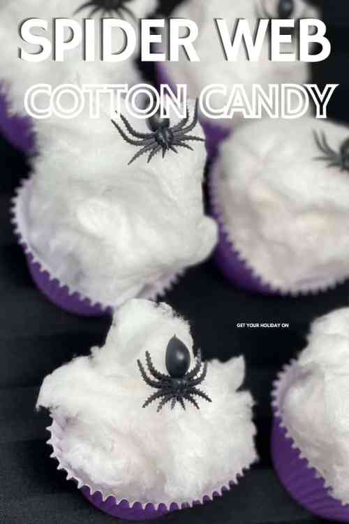 We suggest making the spiders realistic enough for a glancing eye for the spider web cotton candy treat.