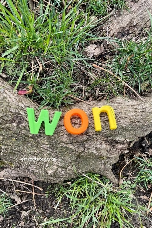 Entertaining the kids this summer with a word search scavenger hunt at home. This word spells out WON.