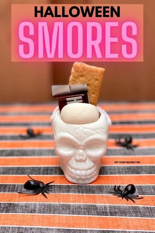 Skull halloween smores that perfect marshmallow, chocolate, graham cracker treat.