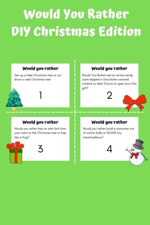 Would you rather Christmas edition a diy free printable game idea.