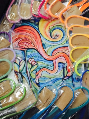 Colleen Wilcox's painted flamingos ready to be quilled by Kristen Brunton of Get Your Roll On Quilling