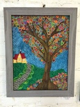 Quilled Tree House by Kristen Brunton of Get Your Roll On Quilling for sale and on display, contact sales@getyourrollonquilling.com