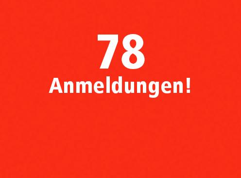 78 Anmeldungen per Ende August!