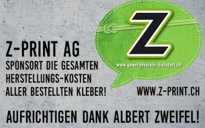 Herzlichen Dank an Z-Print AG für das grosszügige Sponsoring!