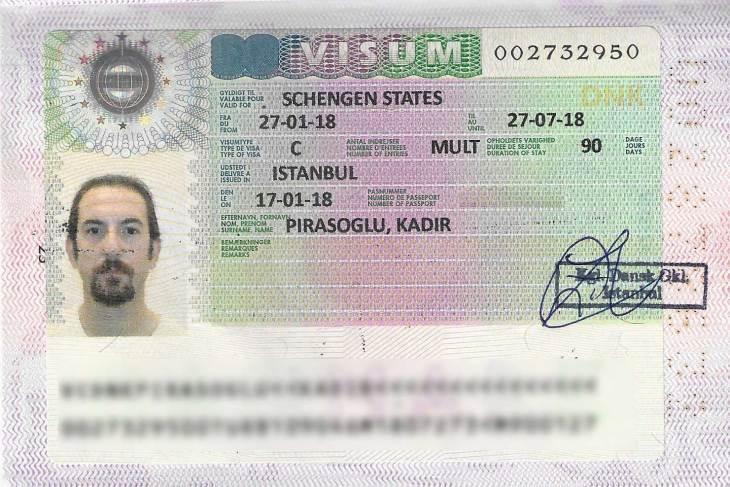 Danimarka çok girişli vize örneği