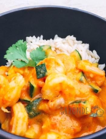 scampi met groentjes in een curry sausje gezonde drukte gezond