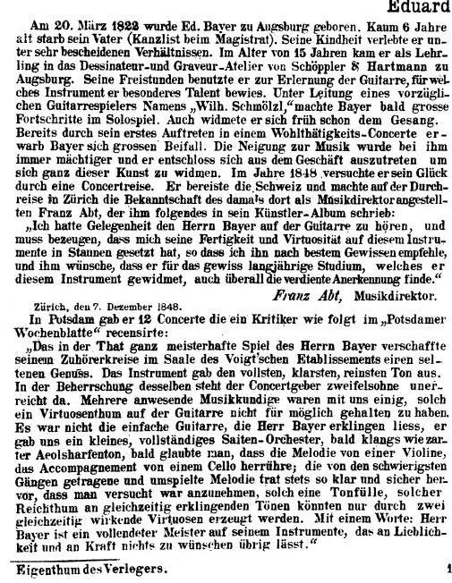 Eduard Bayer Guitarreschule - Zitate über Eduard Bayer