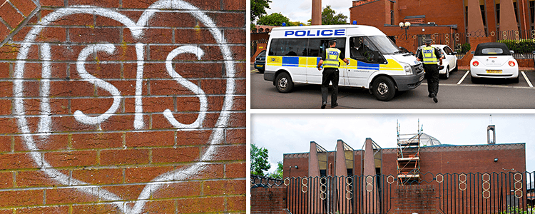 ISIS graffiti on walls of Glasgow Central Mosque