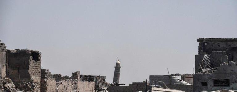 ISIS terrorists destroy the historic al Nuri Mosque in Mosul