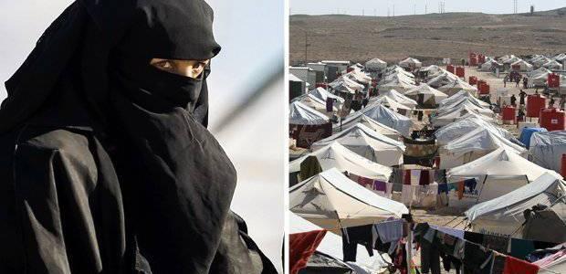 Islamic State jihadi brides raise group's black flag over refugee camp