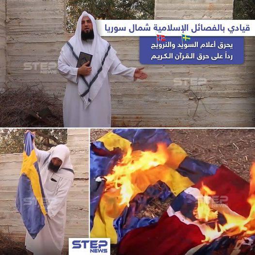 GFATF - LLL - Hayat Tahrir al Sham commander Sheikh Abu al Abd Ashidaa burned Swedish and Norwegian flags 1