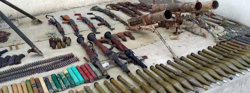 Islamic State military equipment confiscated by the Iraqi army in Al-Anbar