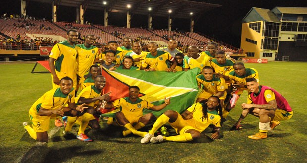 The Golden Jaguars after their 2-0 victory over Grenada at the Guyana National Stadium