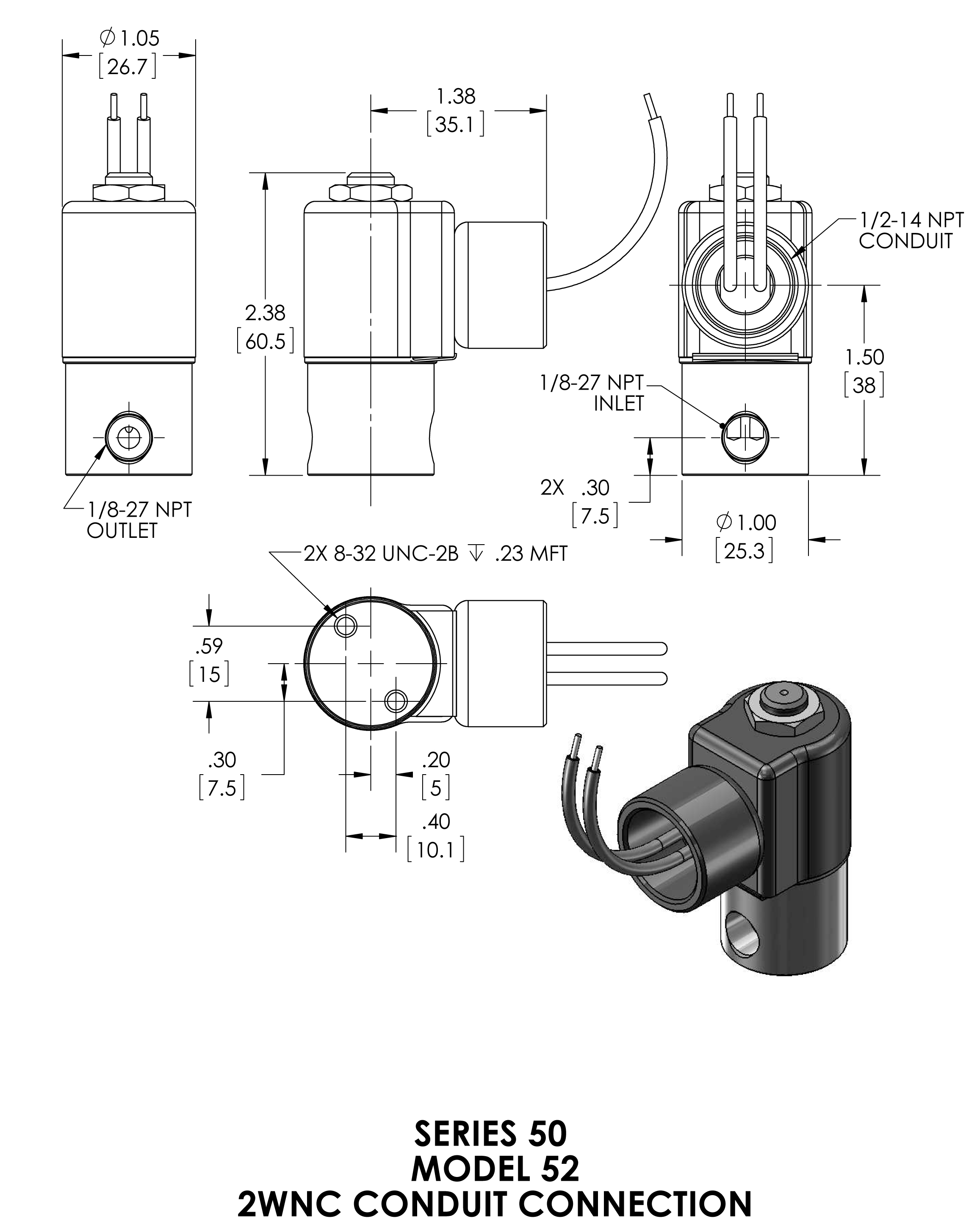 52k8dcb Peter Paul 2 Way Normally Closed Solenoid Valve 3