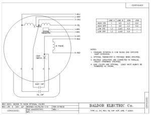 L1408T Baldor Single Phase Open Foot Mounted 3HP, 1725RPM