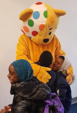 Pudsey meeting children