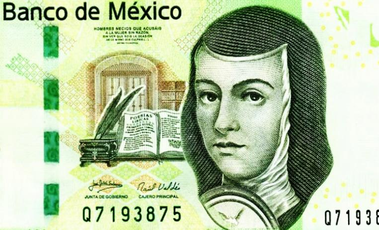 Sor Juana Inés de la Cruz, woman with too many names was a poet, a dramatist, a scholar and a nun who invented  buñuelos, which got her on the 200 peso note. But didn't get her a husband, which oversight got her into a convent.