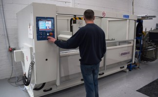 Kombimatec's AMC308 machining centre comes with a touchscreen interface with built-in macros for easy programming.