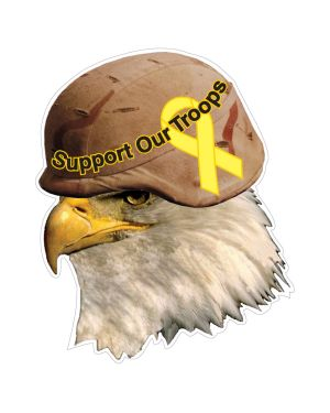 """Eagle Support Troops with Helmet Magnet or Sticker for Indoor or Outdoor Use 4"""" x 5"""""""