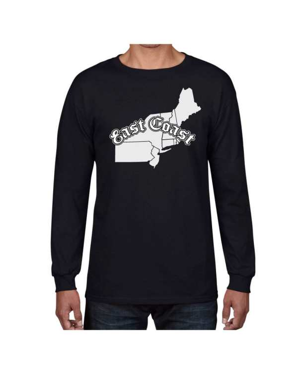 Good Vibes East Coast Map Black Long Sleeve T-shirt