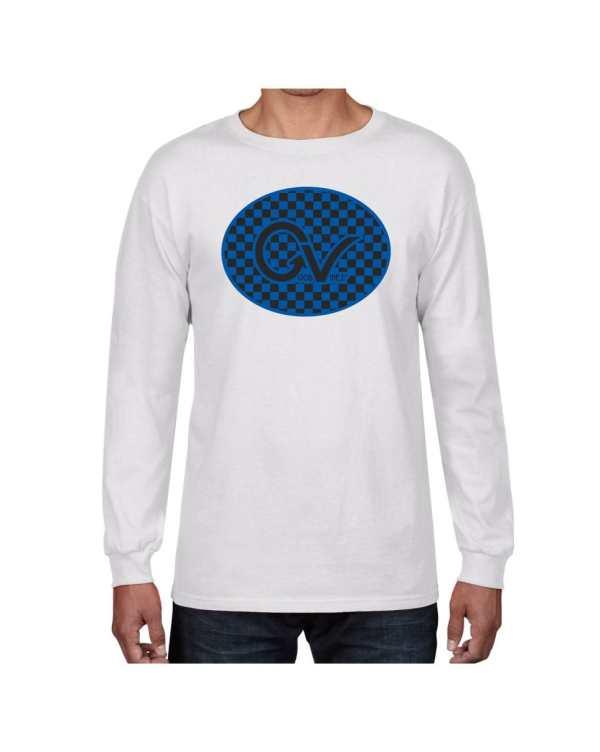 Good Vibes Blue Black Checker White Long Sleeve T-shirt