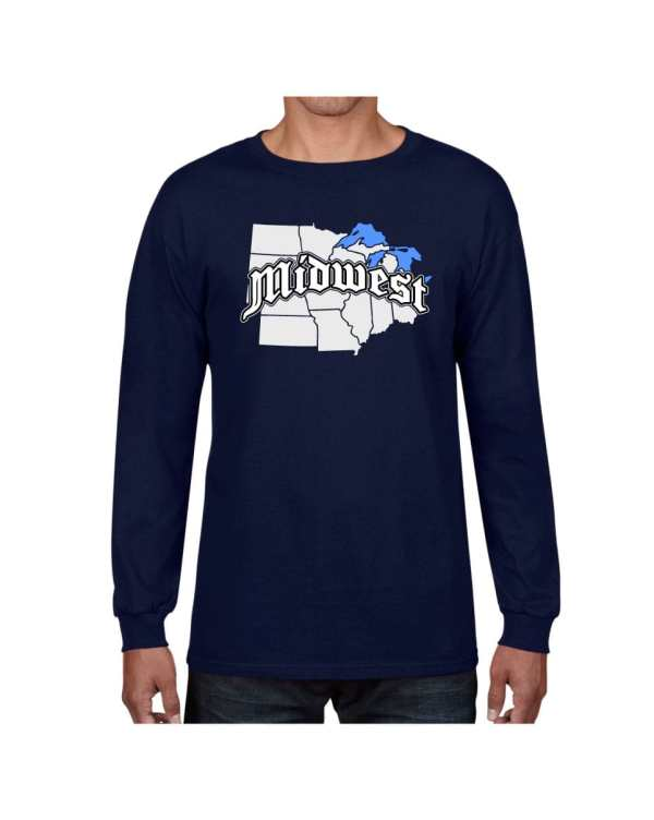 Good Vibes Midwest Map Navy Long Sleeve T-shirt
