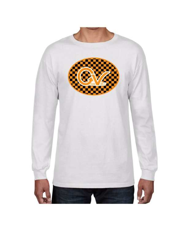 Good Vibes Orange Checker Logo White Long Sleeve T-shirt
