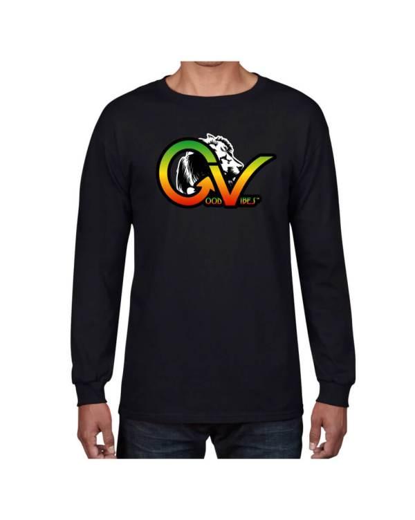 Good Vibes Rastafarian White Lion GV Black Long Sleeve T-shirt