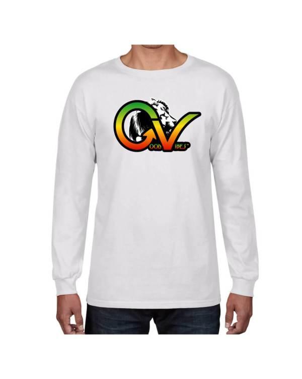 Good Vibes Rastafarian White Lion GV White Long Sleeve T-shirt