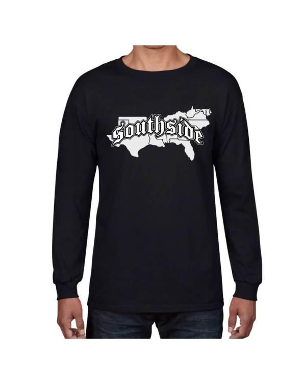 Good Vibes Southside Map Black Long Sleeve T-shirt