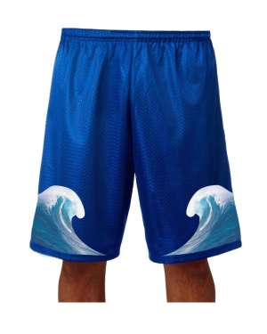 """Good Vibes™ Men's Blue Basketball Shorts with Wave Logo. Style A4 11"""" Adult Utility Mesh with 2 Ply Mesh BodyBlue"""