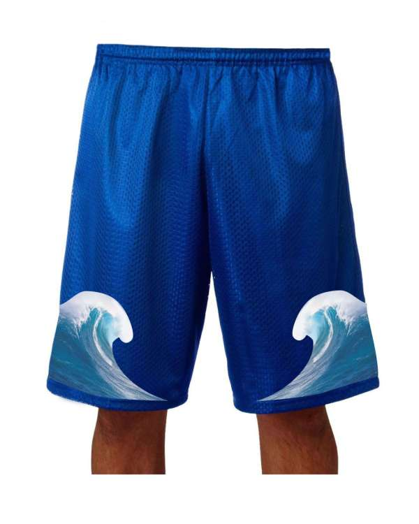 "Good Vibes™ Men's Blue Basketball Shorts with Wave Logo. Style A4 11"" Adult Utility Mesh  with 2 Ply Mesh BodyBlue"