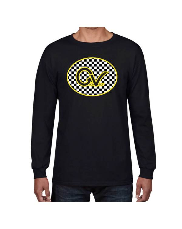 Good Vibes Yellow Checker GV Black Long Sleeve T-shirt