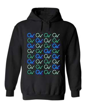 Good Vibes™ Unisex Multi GV Pattern Hoodie. This is a Heavyweight Hoodie 50% cotton and 50% Polyester with Front pouch pocket