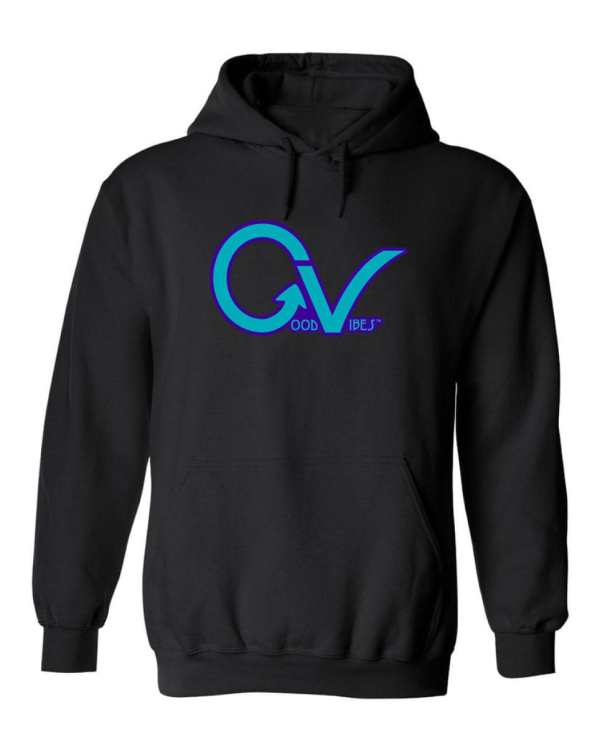 Good Vibes™ Unisex Purple GV Hoodie. This is a Heavyweight Hoodie 50% cotton and 50% Polyester with Front pouch pocket