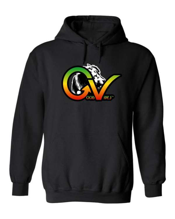 Good Vibes™ Rasta White Lion Unisex Hoodie Heavyweight 50% cotton and 50% Polyester with Front pouch pocket