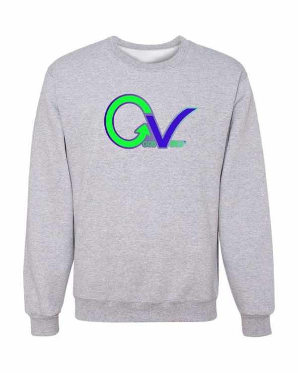 Good Vibes Green Purple Logo Gray Sweatshirt