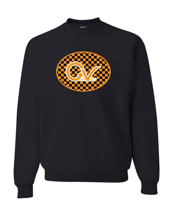 Good Vibes Orange Checker Logo Black Sweatshirt