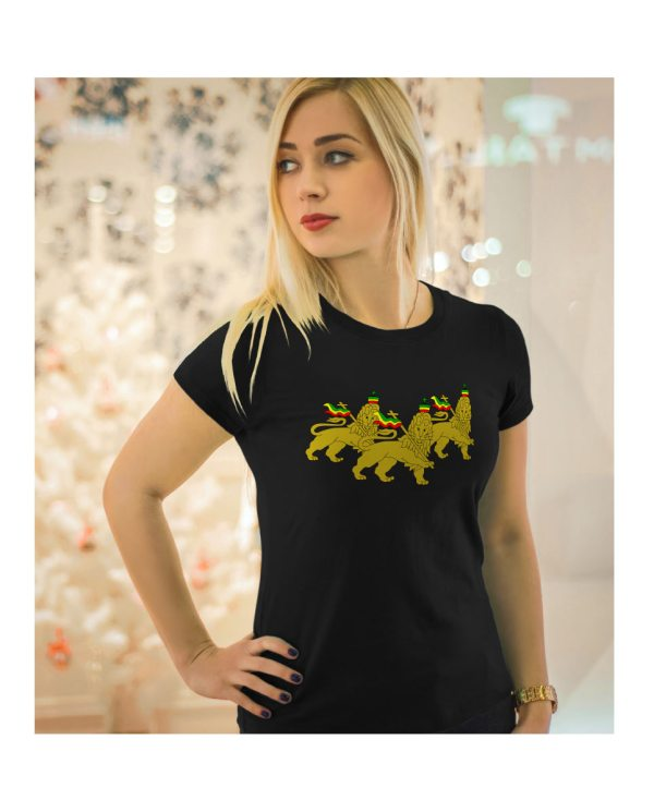 Good Vibes Rastafarian 3 Lions Black Womens T-shirt