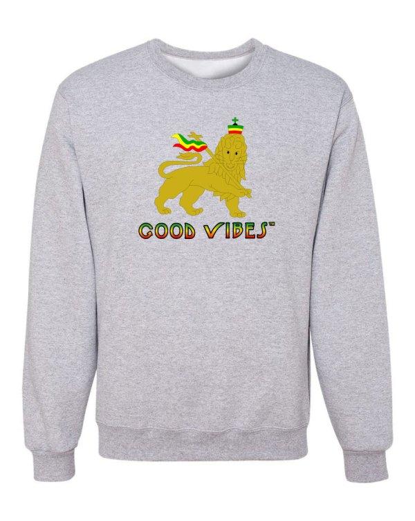 Good Vibes Rastafarian Lion Gray Sweatshirt