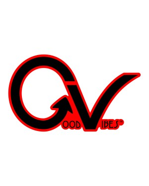 "Good Vibes Black Red Border GV Sticker for Indoor or Outdoor Use 3.45"" x 2"""