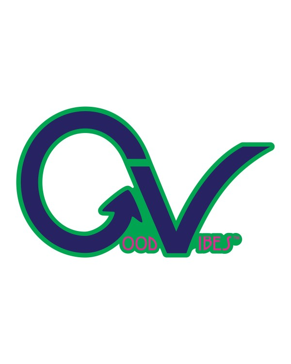 """Good Vibes Blue Pink Green Border GV Sticker for Indoor or Outdoor Use 3.45"""" x 2"""""""