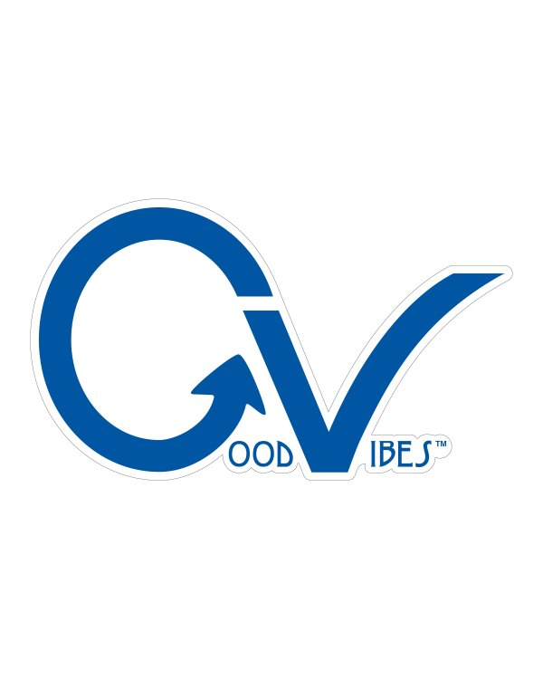 """Good Vibes Blue GV Sticker for Indoor or Outdoor Use 3.45"""" x 2"""""""
