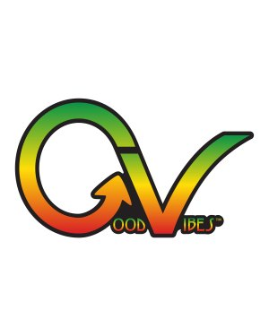"""Good Vibes Rastafarian GV Sticker for Indoor or Outdoor Use 3.45"""" x 2"""""""