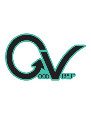 "Good Vibes Teal Black GV Sticker for Indoor or Outdoor Use 3.45"" x 2"""