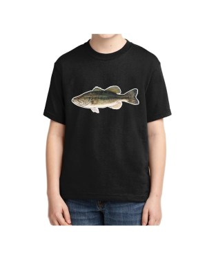 Kids Large Mouth Bass T-shirt 5.6 oz., 50/50 Heavyweight Blend Black T-shirt