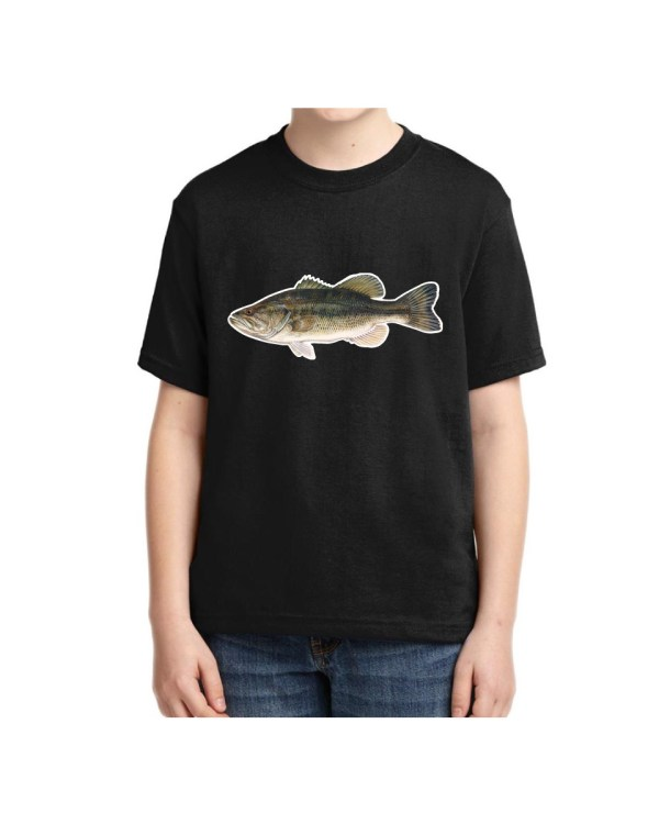 Kids Large Mouth Bass T-shirt 5.6 oz., 50/50 Heavyweight Blend Black T-shirt